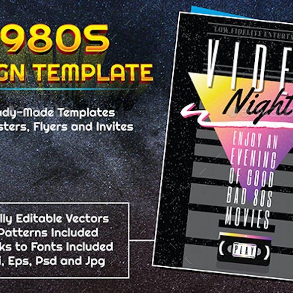 1980s Style Video Night Design Template