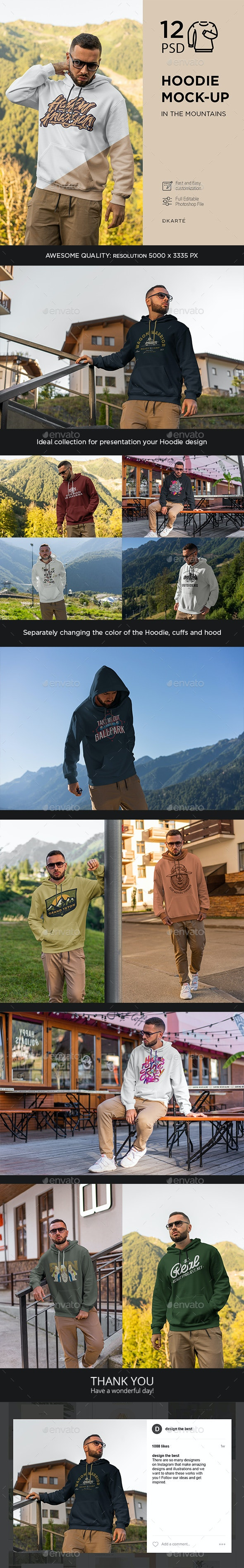 Hoodie Mock-Up In Mountains - Apparel Product Mock-Ups