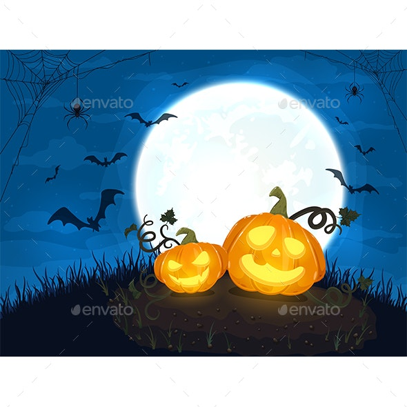 Two Happy Halloween Pumpkins with Moon and Bats on Night Background - Halloween Seasons/Holidays