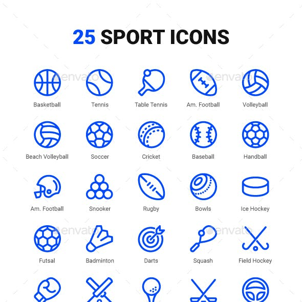 Sport Equipment Line Icons