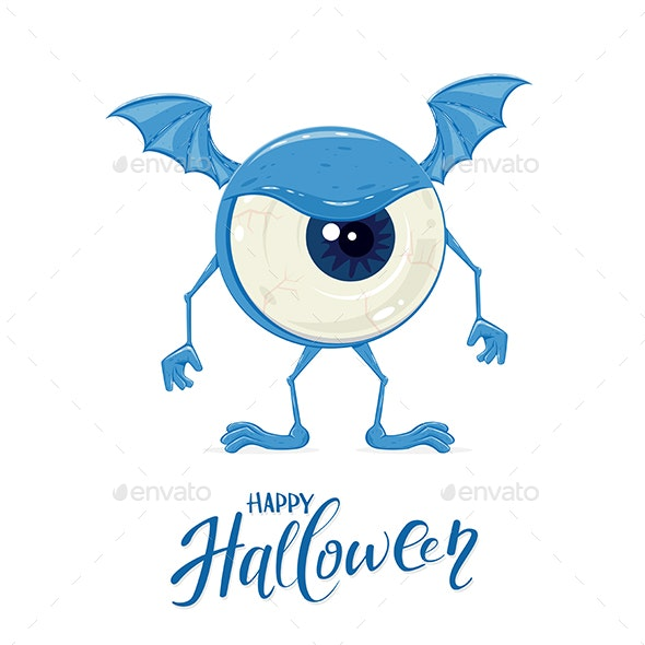 Blue Monster For Halloween With Eye By Losw Graphicriver