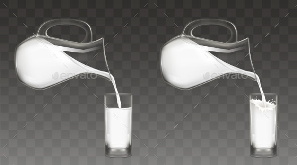Pouring Milk From Jug Into Glass Vector - Food Objects