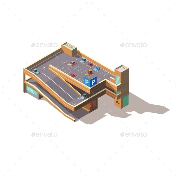 City Multilevel Car Parking Isometric Vector - Buildings Objects