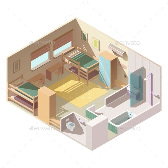 Four-Bed Room in School Camp Isometric Vector