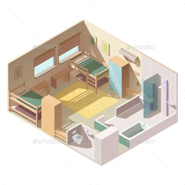 Four-Bed Room in School Camp Isometric Vector - Buildings Objects