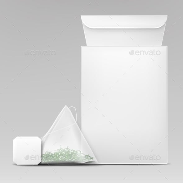 Green Tea Packaging Template Realistic Vector