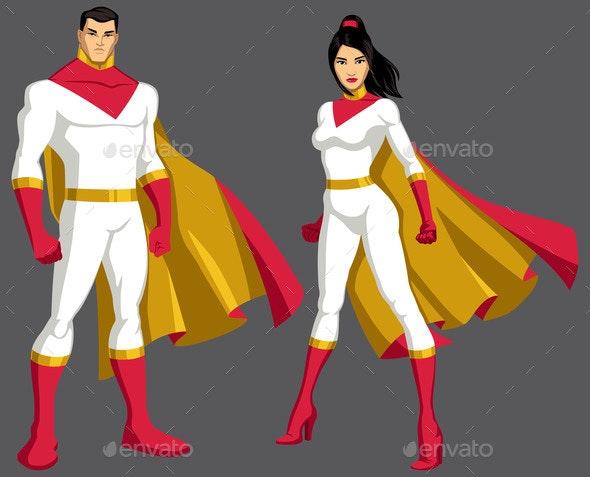 Superhero Couple Isolated - People Characters