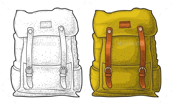 Hipster Tourist Backpack Front View Vector Color - Man-made Objects Objects