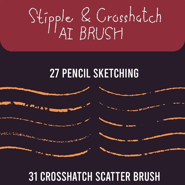 Pencil Stipple and Crosshatch Brush Set for AI