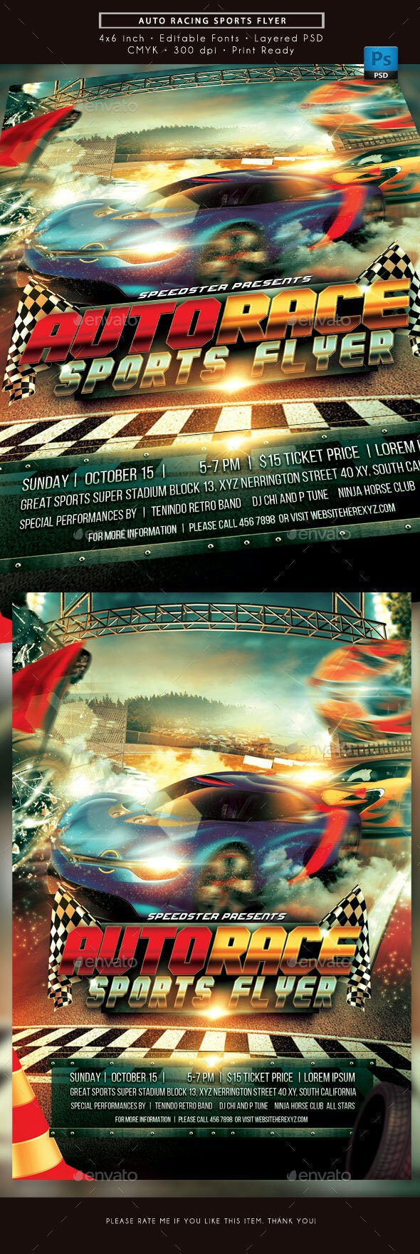 Auto Racing Sports Flyer - Sports Events