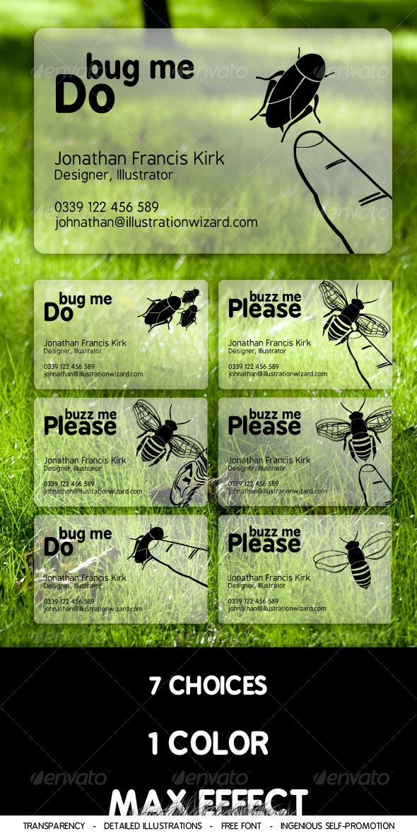 Bug Me, Buzz Me Business Cards - Creative Business Cards