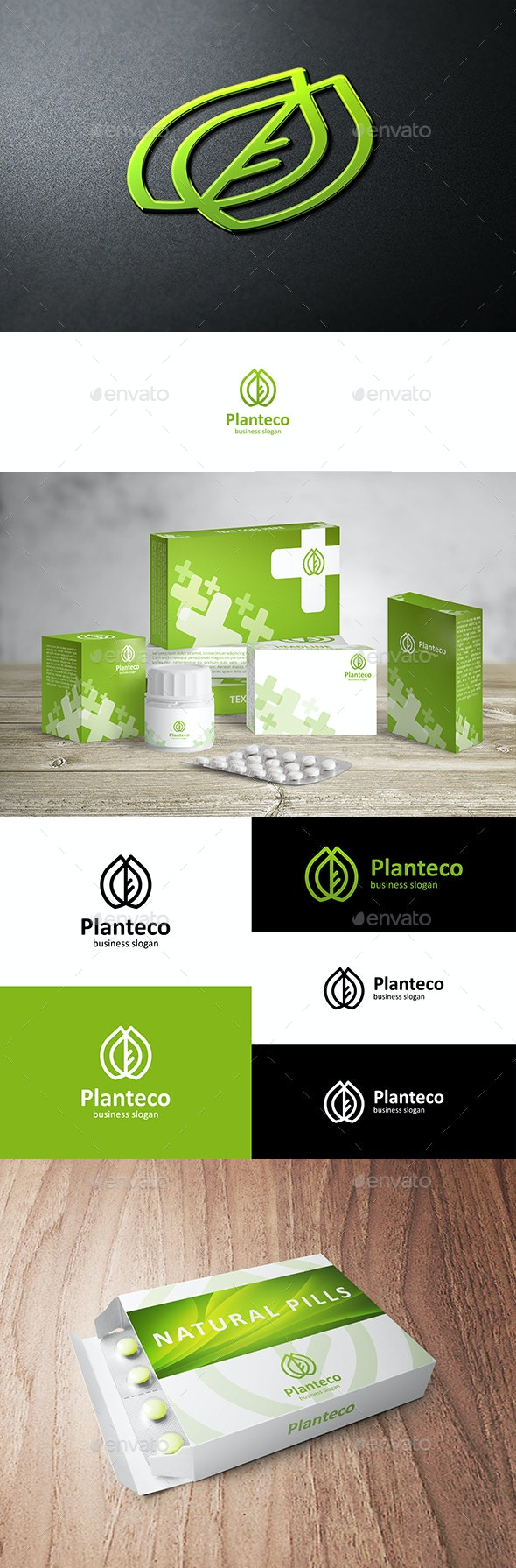 Eco Plant Logo with Leaf - Nature Logo Templates