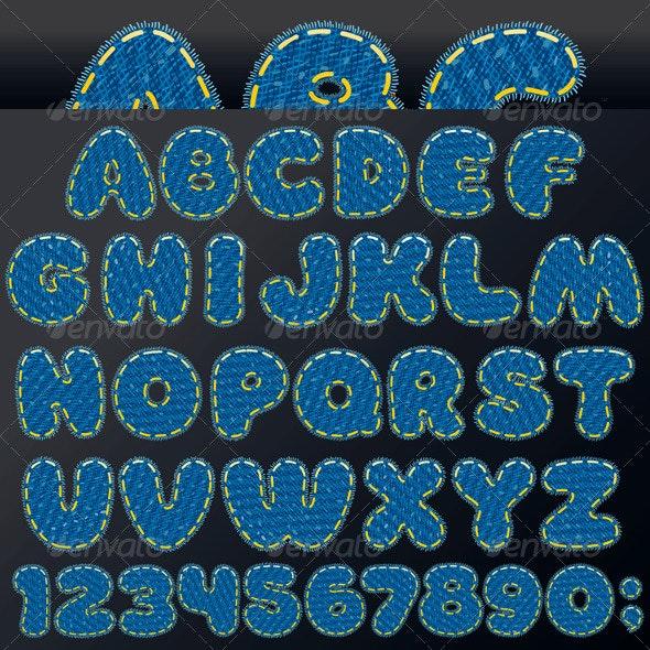 Denim Patch Font - Decorative Symbols Decorative
