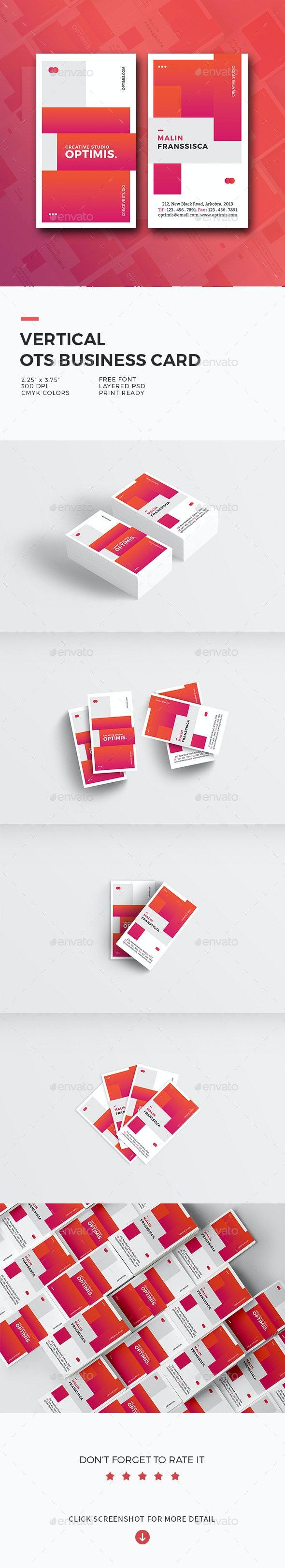 Vertical OTS Creative Business Card - Creative Business Cards