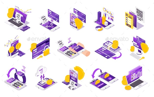 Mobile Transfers Isometric Icons - Concepts Business