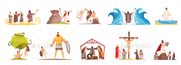 Bible Narratives Characters Set - Religion Conceptual