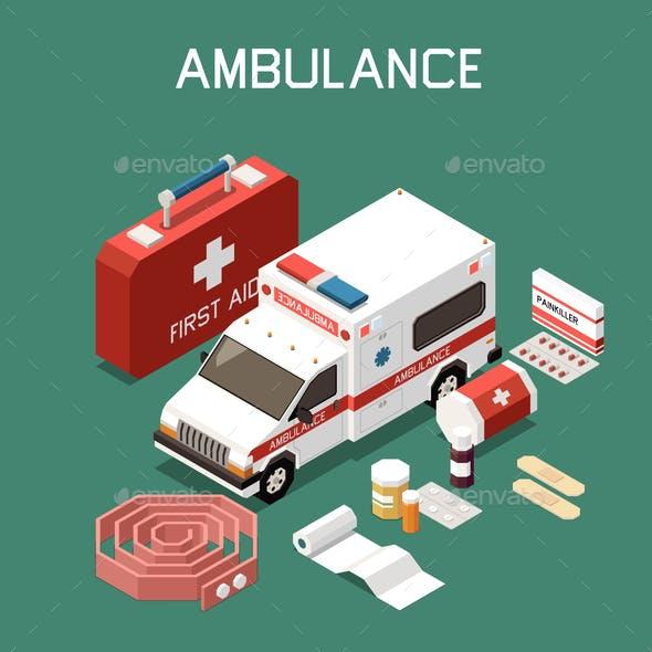 First Aid Isometric Illustration