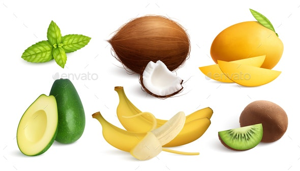 Tropical Fresh Fruits Collection - Food Objects
