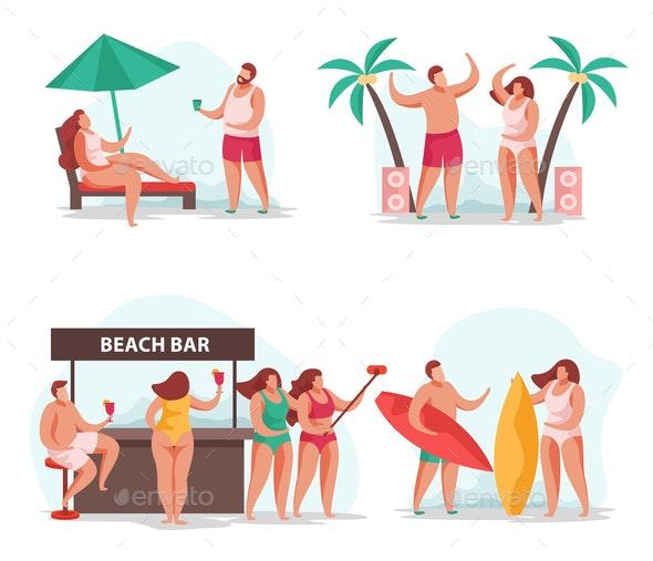 Summer Relax Compositions Set - Miscellaneous Vectors