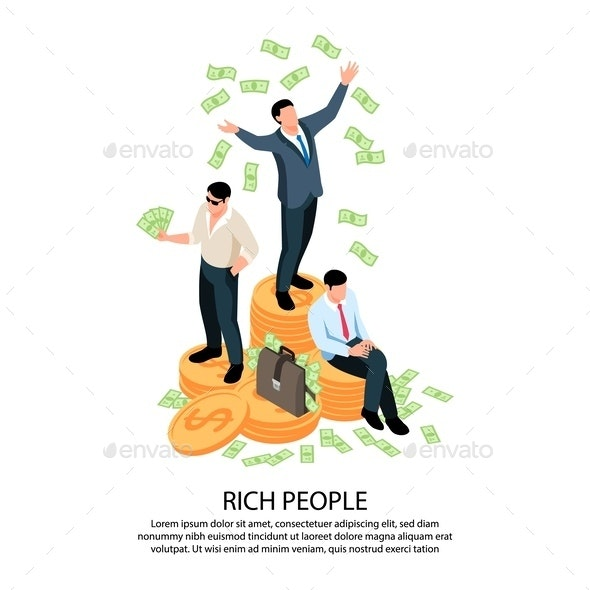 Rich People Isometric Composition - Concepts Business