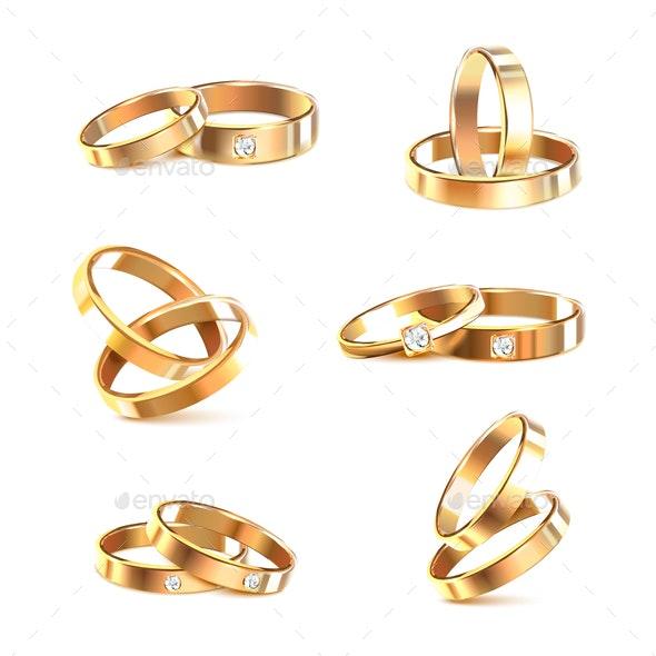 Wedding Rings Realistic Set - Weddings Seasons/Holidays