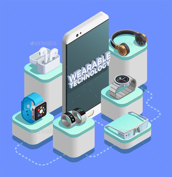 Wearable Technology Isometric Composition - Media Technology