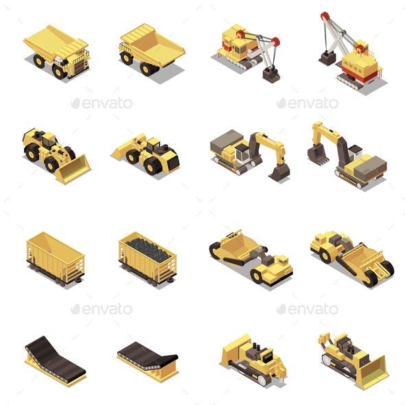 Mining Machinery Isometric Icons Set