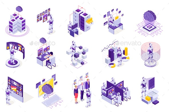 Robotics Isometric Icons Collection
