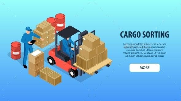 Cargo Sorting Horizontal Banner - Miscellaneous Vectors