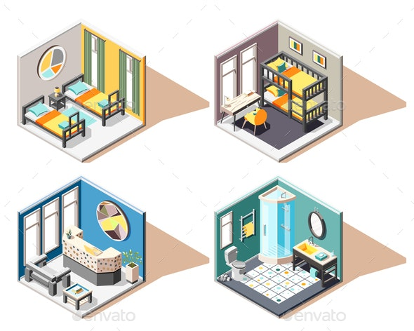 Hostel Isometric 2x2 Design Concept - Computers Technology