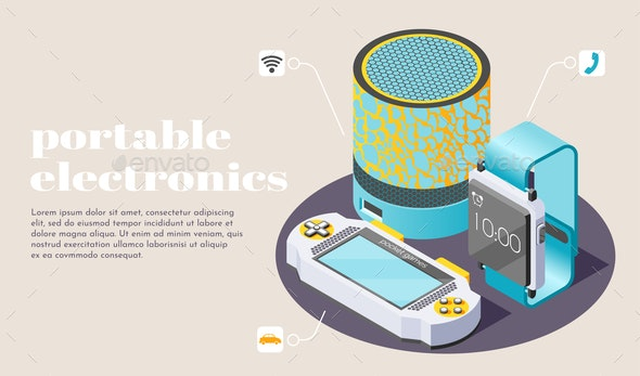 Portable Electronics Isometric Poster - Miscellaneous Vectors