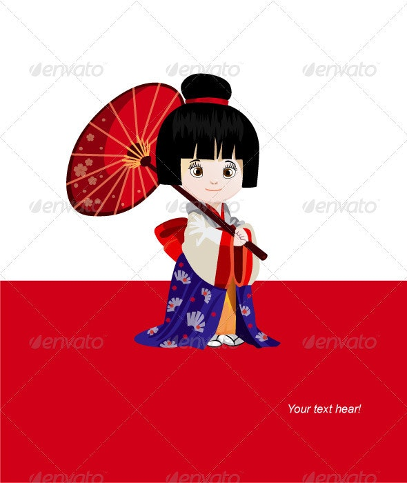 Japan Girl with Umbrella Vector - People Characters