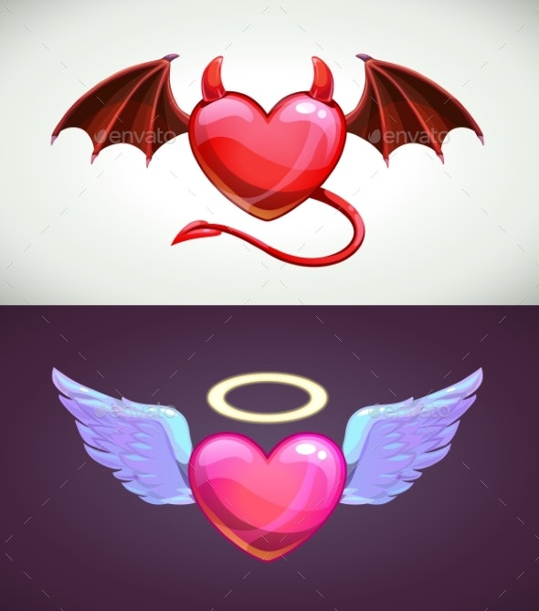 Angel and Devil Hearts. Love Concept Icons. - Miscellaneous Vectors