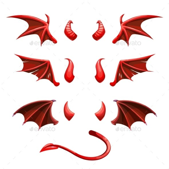 Devil Tail Horns and Wings Demonic Red Elements