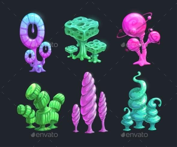 Shiny Fantasy Alien Plants - Organic Objects Objects
