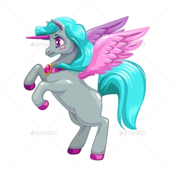 Fantasy Unicorn with Long Blue Hair - Animals Characters