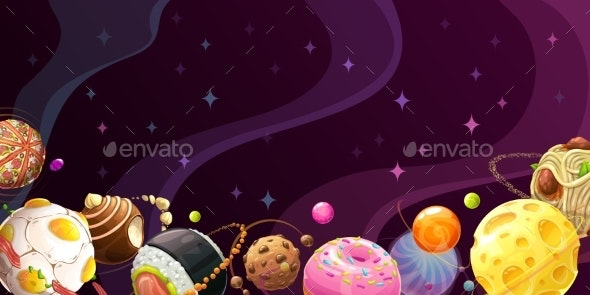Yummy World Colorful Cartoon Food Planets - Food Objects