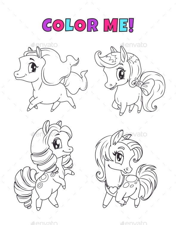 Cartoon Pony Set Outline Horses Icons - Animals Characters
