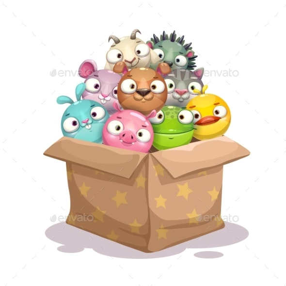 Paper Box Full of Round Stuffed Animal Toys - Animals Characters