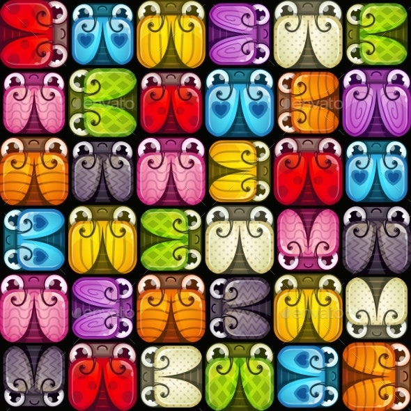 Vector Seamless Pattern with Colorful Bugs - Abstract Conceptual