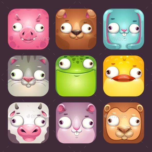 Cartoon Square Animal Faces - Animals Characters