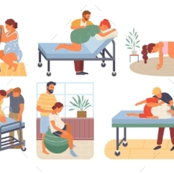 Pregnant Woman Birth Positions Infant Vector