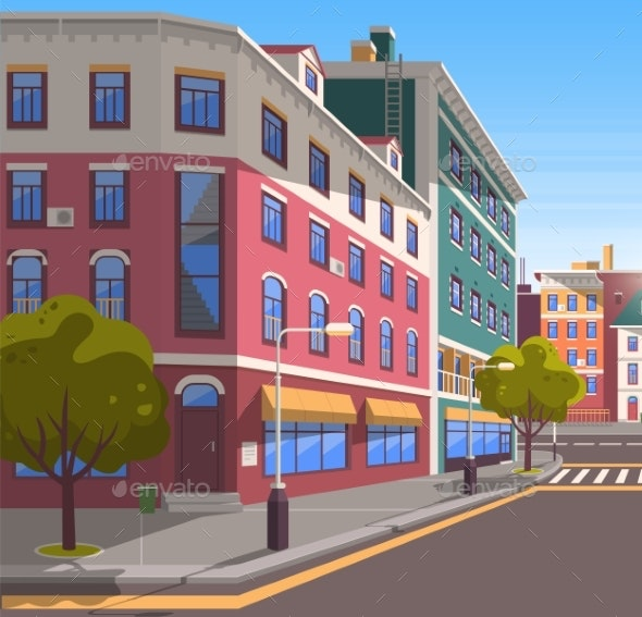 Modern City Street Realistic Tranquil Town Look - Buildings Objects