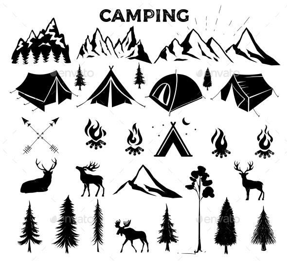 Travel Even Camping Vector Elements - Sports/Activity Conceptual