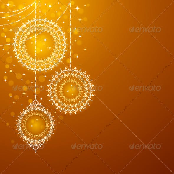 Christmas Ornaments On Golden Background