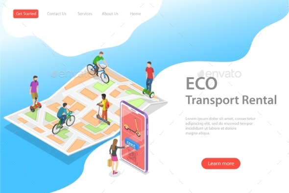 Isometric Transport Rental Vector Landing Page Template - Concepts Business