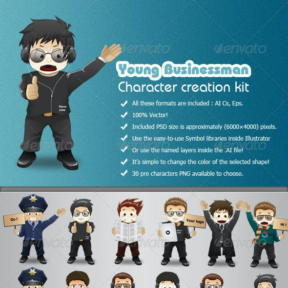 Young Businessman Character Creation Kit
