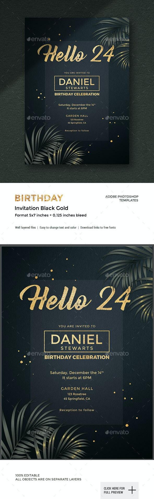 Exclusive Birthday Invitation - Cards & Invites Print Templates