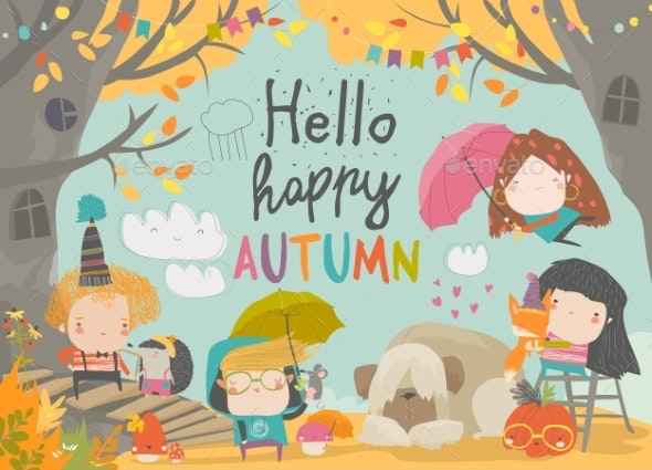 Children Meeting Autumn Wearing Warm Clothes - People Characters