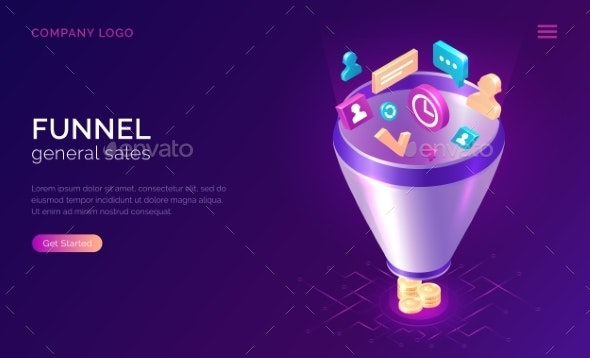 Sales Funnel Isometric Concept Illustration - Concepts Business